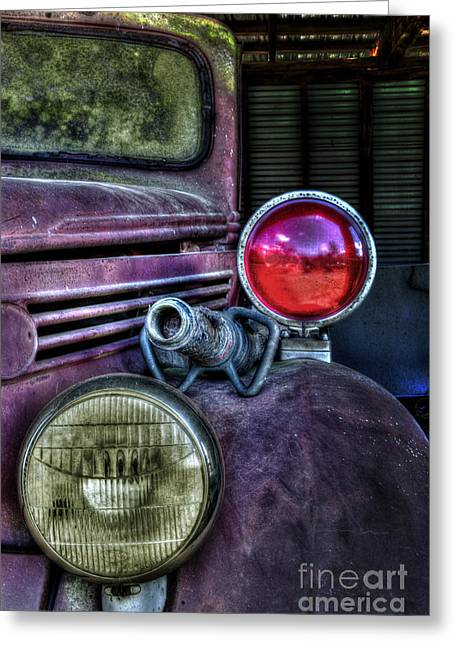 Transfer Greeting Cards - Old Ford Firetruck Greeting Card by Ken Johnson
