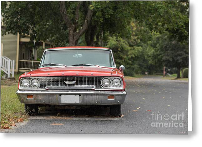 Main Street Greeting Cards - Old Ford Galaxy in the Rain Greeting Card by Edward Fielding