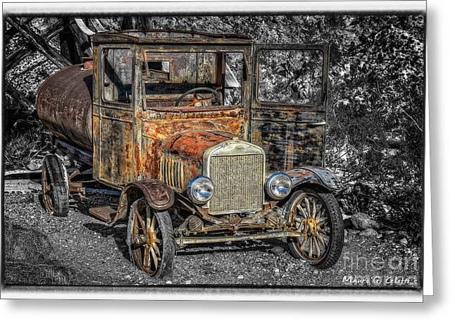 Abstract Digital Pyrography Greeting Cards - Old Ford Greeting Card by Mauro Celotti