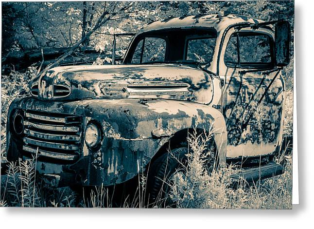Duo Tone Greeting Cards - Old Ford Truck Greeting Card by Nicole Couture-Lord