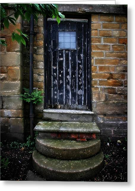 Garden Scene Digital Art Greeting Cards - Old Forgotten Black Front Door Greeting Card by Michael Braham