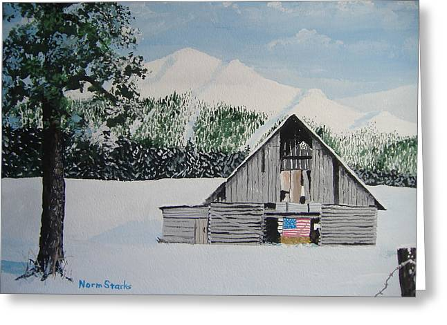 Old Fence Posts Paintings Greeting Cards - Old Forgotten But Still Proud Greeting Card by Norm Starks