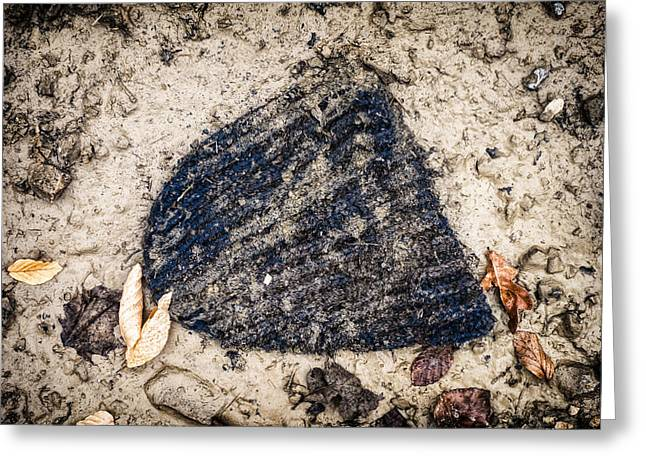 Old Forgotten Wool Cap Lying On The Ground Greeting Card by Matthias Hauser