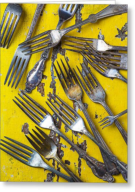 Kitchenware Greeting Cards - Old Forks Greeting Card by Garry Gay