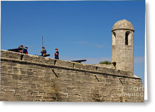 Dress Pyrography Greeting Cards - Old fort in St. Augustine in Florida Greeting Card by Les Palenik