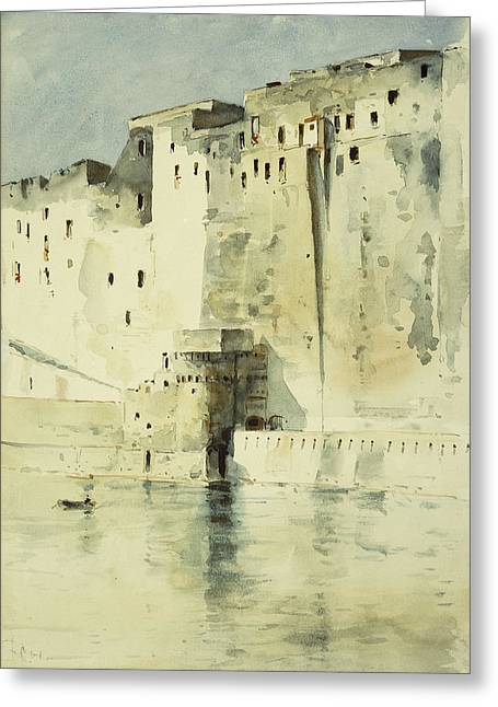 Old Fortress Naples Greeting Card by Childe Hassam