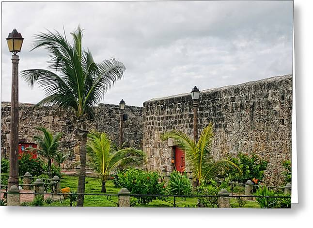 Castillo San Felipe Greeting Cards - Old Fortress Walls Greeting Card by Linda Phelps