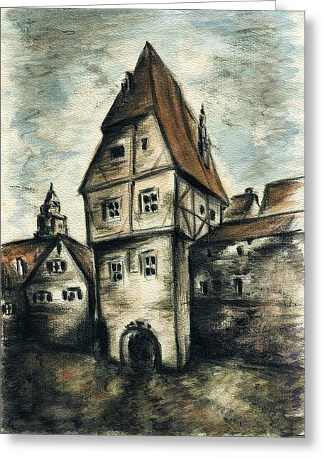 White Frame House Drawings Greeting Cards - Old Framework House Bavaria Germany - Drawing Greeting Card by Peter Fine Art Gallery  - Paintings Photos Digital Art