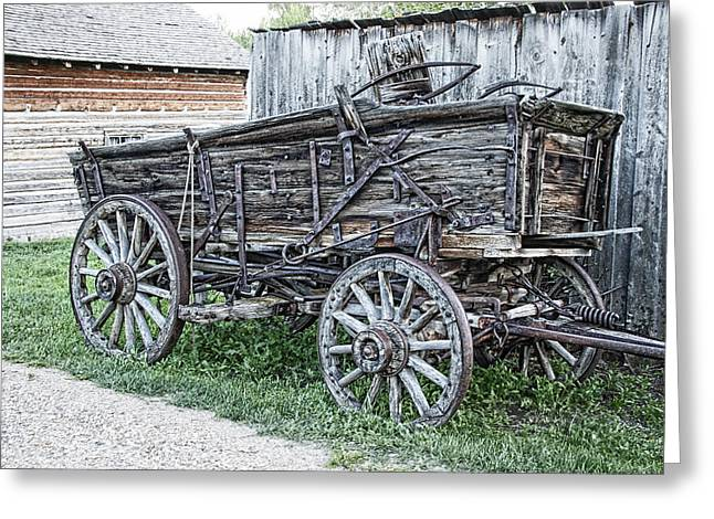 Old Relics Greeting Cards - Old Freight Wagon - Montana Territory Greeting Card by Daniel Hagerman