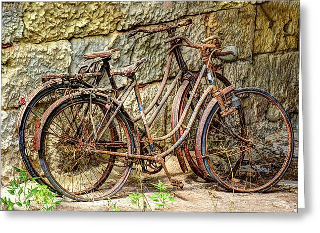 Old French Bicycles Greeting Card by Debra and Dave Vanderlaan