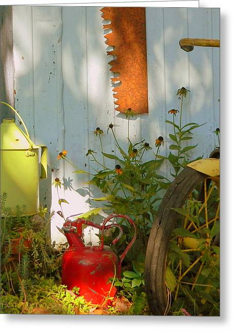 Old Pitcher Greeting Cards - Old Friends Greeting Card by Kathy Barney