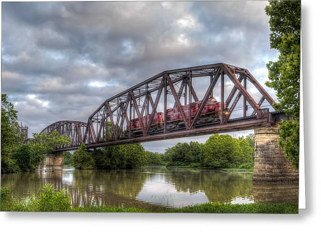 Fort Smith Greeting Cards - Old Frisco Bridge Greeting Card by James Barber