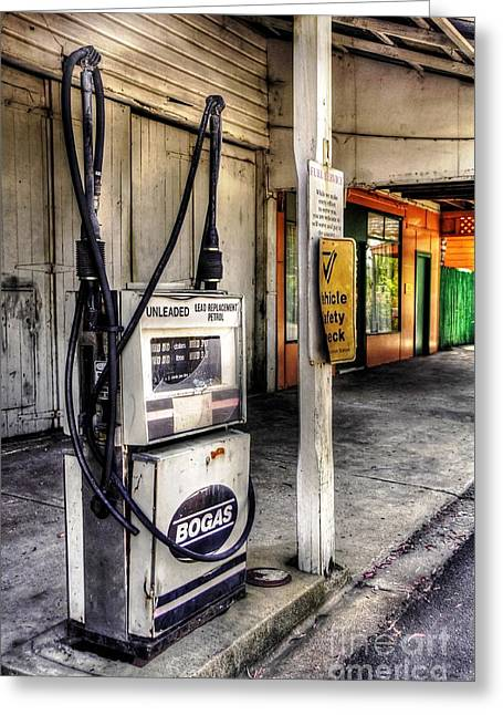 Petrol Station Greeting Cards - Old Fuel Bowser - Old Town Greeting Card by Kaye Menner