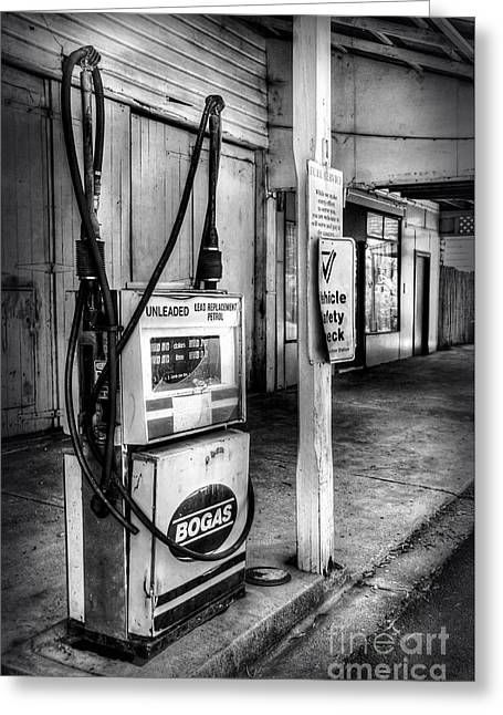 Petrol Station Greeting Cards - Old Fuel Pump - Black and White 2 Greeting Card by Kaye Menner