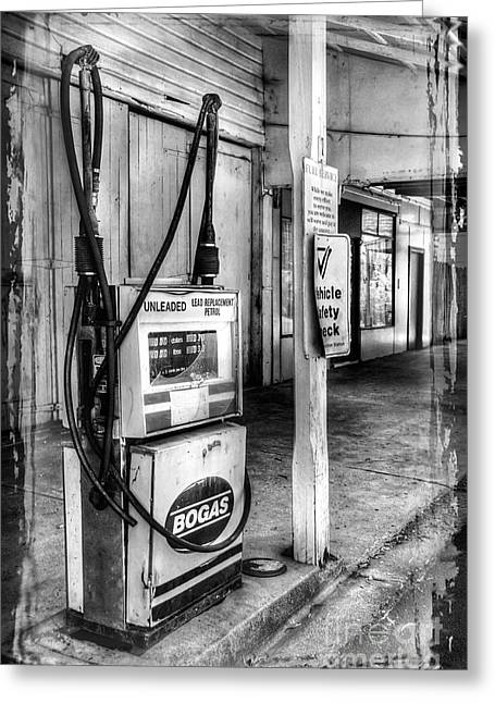 Petrol Station Greeting Cards - Old Fuel Pump - Black and White Greeting Card by Kaye Menner