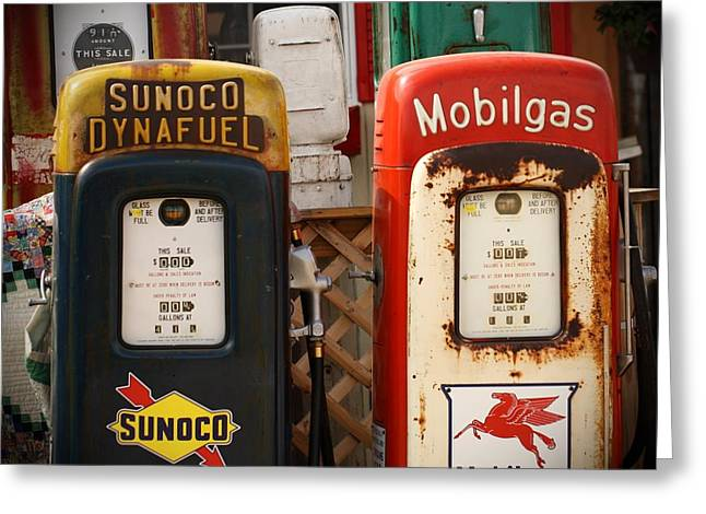 Old Fuel Pumps Greeting Card by Terry Fleckney