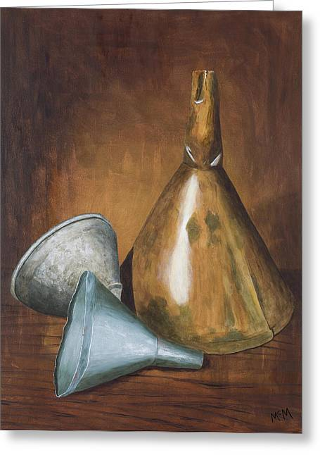 Old Relics Paintings Greeting Cards - Old Funnels Greeting Card by Garry McMichael