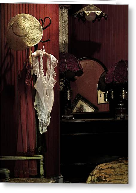 Escort Girl Greeting Cards - Old Galveston Hotel Bordello Room Greeting Card by Angela Bonilla
