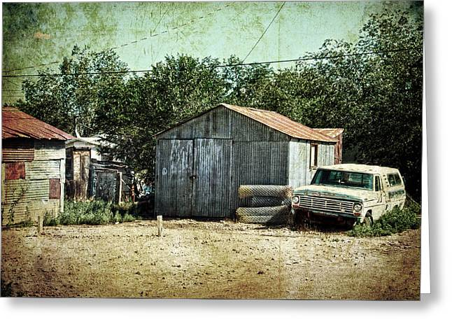 Netting Greeting Cards - Old garage and car in Seligman Greeting Card by RicardMN Photography