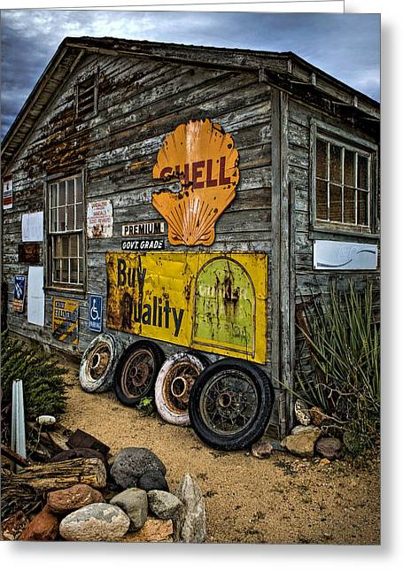 Hackberry Greeting Cards - Old Garage Corner Greeting Card by Murray Bloom