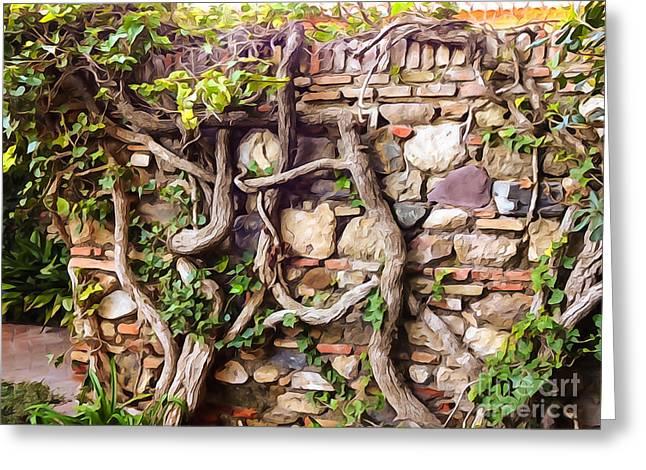 Photoart Greeting Cards - Old Garden Wall Greeting Card by Lutz Baar