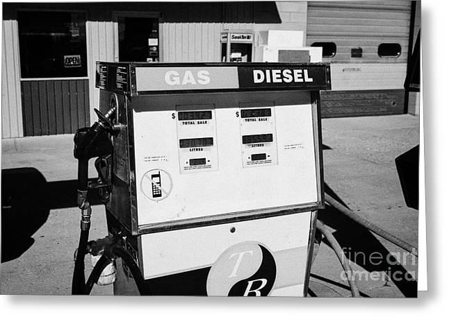 Refuelling Greeting Cards - old gas and diesel petrol pump at a rural small gas station hafford Saskatchewan Canada Greeting Card by Joe Fox