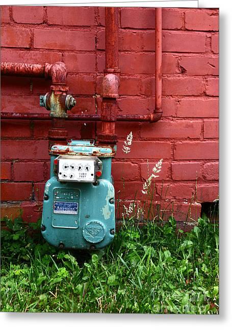 Gas Meter Greeting Cards - Old Gas Meter Greeting Card by James Brunker