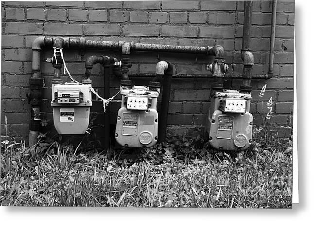 Old Gas Meters Greeting Card by James Brunker