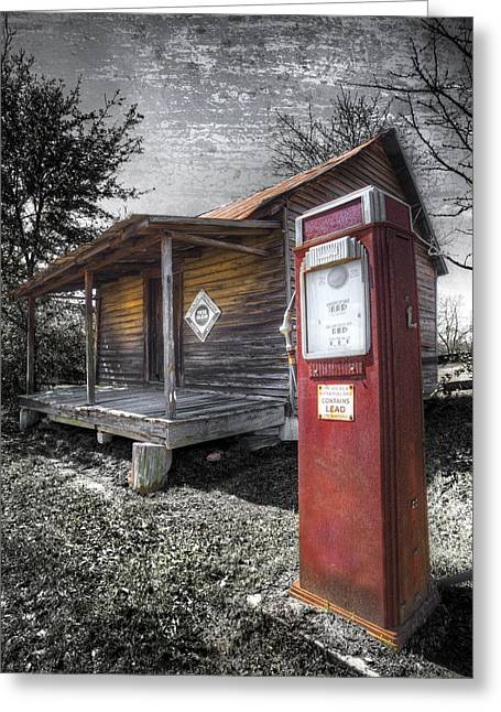 Mountain Cabin Greeting Cards - Old Gas Pump Greeting Card by Debra and Dave Vanderlaan