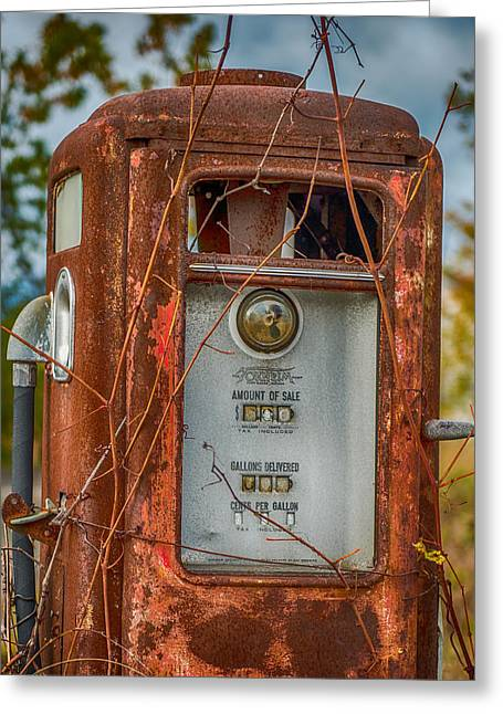 Suburban Posters Greeting Cards - Old Gas Pump Greeting Card by Paul Freidlund