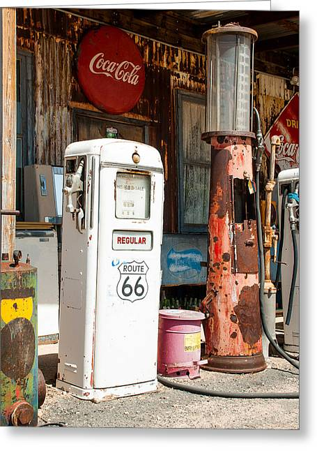 Geobob Greeting Cards - Old Gas Pumps Route 66 Hackberry Springs Arizona Greeting Card by Robert Ford