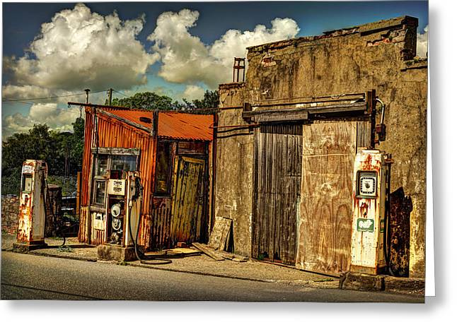 Old Gas Station Greeting Card by Mal Bray