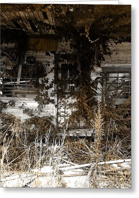 Decor Photography Pyrography Greeting Cards - Old Gas Station Greeting Card by Rebecca Davis