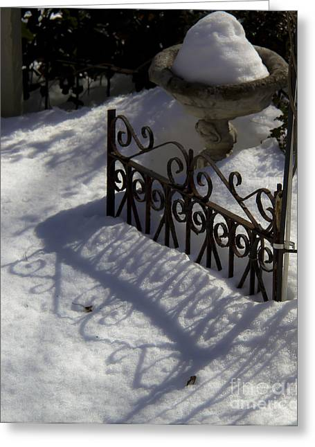 Wrought Iron Gate Greeting Cards - Old Gate Shadows in the Snow Greeting Card by Teresa Mucha
