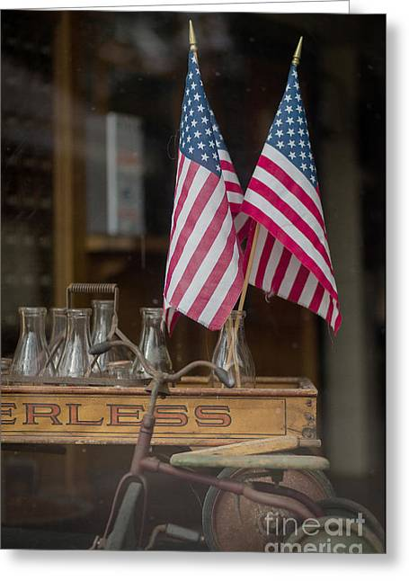 Looking In Greeting Cards - Old General Store Window Greeting Card by Edward Fielding