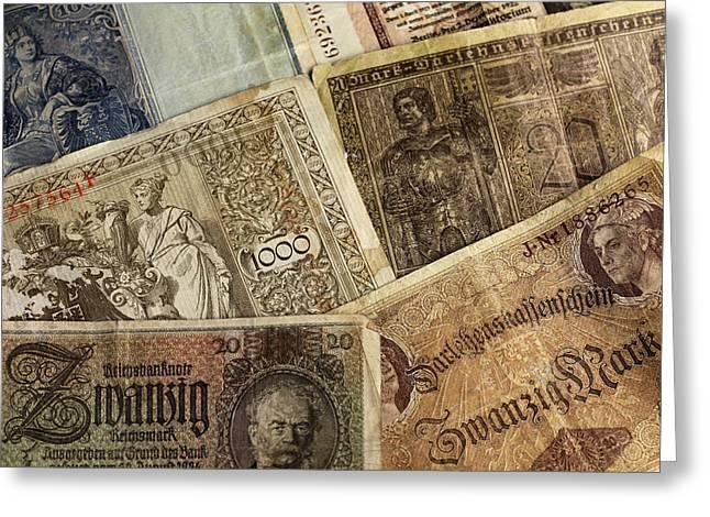 Antik Greeting Cards - Old German Banknotes Greeting Card by Falko Follert