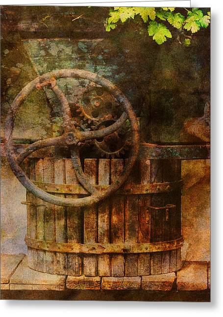 Wine Scene Greeting Cards - Old German Wine Press Greeting Card by Greg Matchick