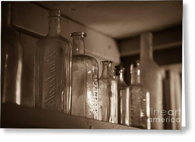 Colonial Greeting Cards - Old glass bottles Greeting Card by Edward Fielding