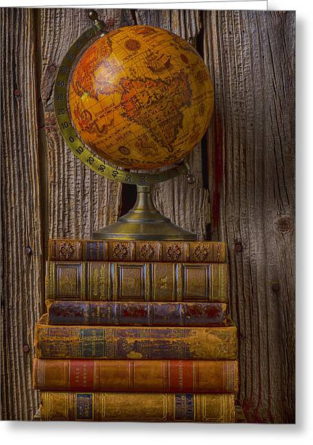 Knowledge Object Greeting Cards - Old globe on old books Greeting Card by Garry Gay