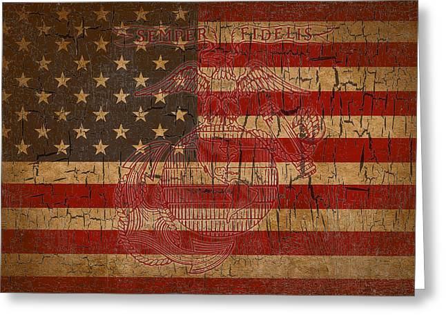 Semper Fidelis Greeting Cards - Old Glory and the Marine Corps Greeting Card by Dawn Romine