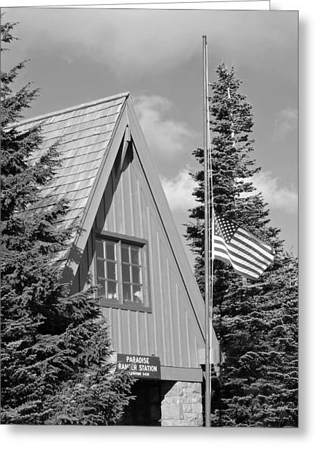 American_flag Greeting Cards - Old Glory at Paradise Ranger Station BW Greeting Card by Connie Fox