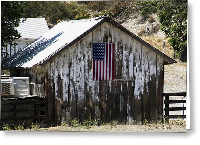 Tool Shed Greeting Cards - Old Glory Barn Greeting Card by Barbara Snyder