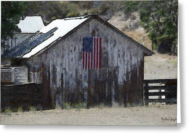 Tool Shed Greeting Cards - Old Glory Barn Digital Greeting Card by Barbara Snyder