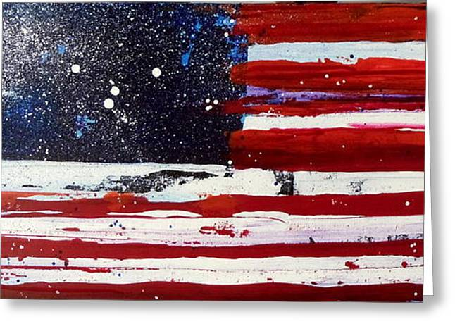 4th July Mixed Media Greeting Cards - Old Glory Beneath The Stars Greeting Card by Charles Jos Biviano