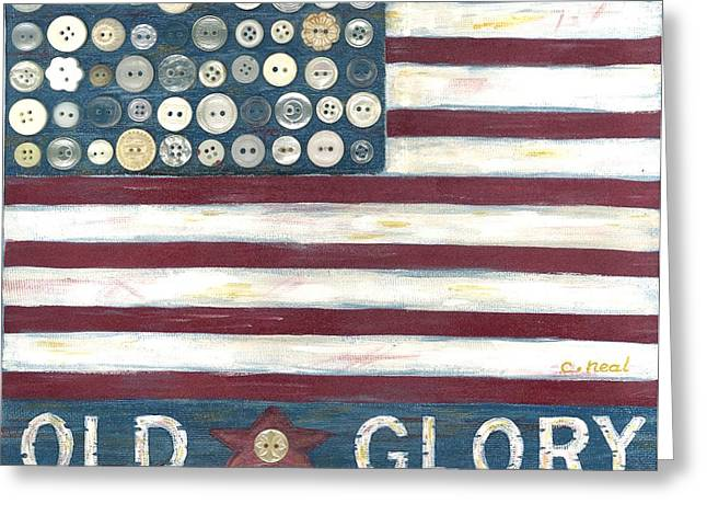 Old Glory Mixed Media Greeting Cards - Old Glory Greeting Card by Carol Neal