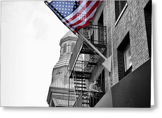Old Glory Greeting Cards - Old Glory getting raised Greeting Card by John Farnan