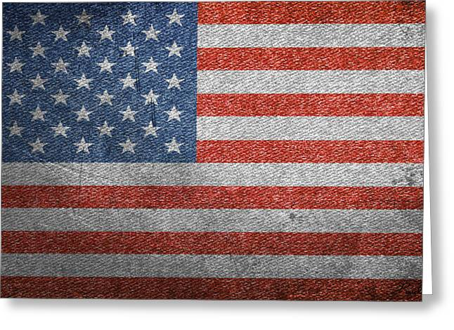 Americans Tapestries - Textiles Greeting Cards - Old Glory In Denim Greeting Card by Paul Reeves