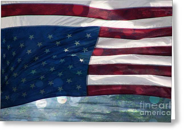 Bravery Mixed Media Greeting Cards - Old Glory in Distress Greeting Card by Beverly Guilliams