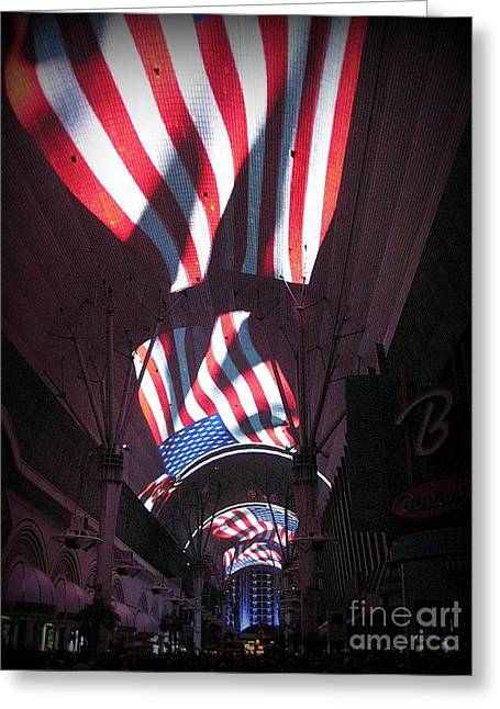 Citites Greeting Cards - Old Glory in Vegas Greeting Card by John Malone