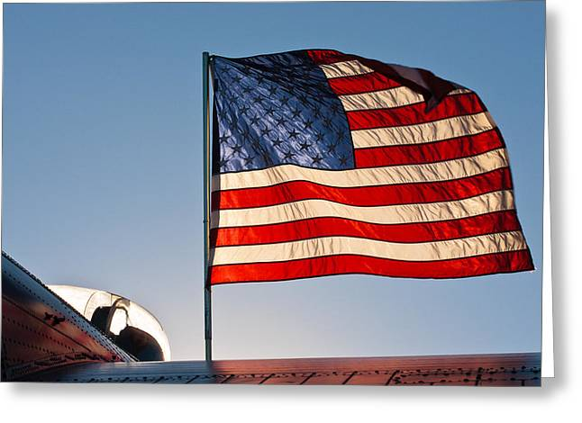U.s. Army Air Corps Greeting Cards - Old Glory Over The Liberator Greeting Card by Jeff Sinon